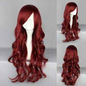 Ladieshair Cosplay Wig Perücke rot 70cm lockig Karneval Halloween A7T