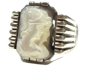 Vintage Men's Sterling Silver Mother Of Pearl Cameo Ring - Size 10