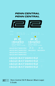 K4 S Decals Penn Central 50 Ft Boxcar Ex-NYC Black Lettering
