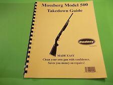 TAKEDOWN MANUAL GUIDE MOSSBERG MODEL 500 PUMP SHOTGUN + several similar models