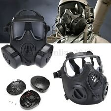 Black M50 Full Face Skull Gas Mask Perspiration Dust Guard argame Paintball Game