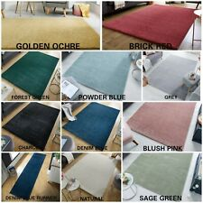 TRENDY COLOURS QUALITY PLAIN NON-SHED SOFT SHAGGY SMALL X LARGE RUG & RUNNER