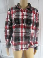 Dressbarn Womens LS Button Down Red Black Christmas Plaid Blouse Size LARGE