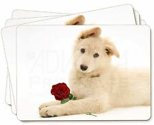 White German Shepherd with Rose Picture Placemats in Gift Box, AD-GS5RP