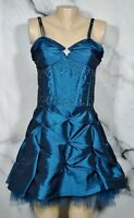 NARIANNA Teal Fit and Flare Party Dress Medium Spaghetti Straps Scattered Beads