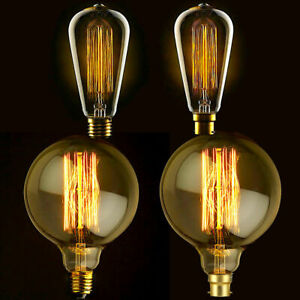 Vintage Filament Edison Light Bulb Dimmable E27 B22 Decorative Industrial Globe