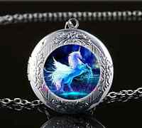 Moonlight Unicorn Photo Glass Tibet Silver Chain Locket Pendant Necklace
