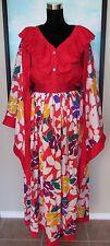 VTG Oscar de la Renta Couture Red Linen & Silk  Top & Skirt Sz 12/14