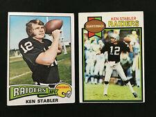 "KEN ""THE SNAKE"" STABLER 1975 & 1977 TOPPS OAKLAND RAIDERS FOOTBALL CARDS"
