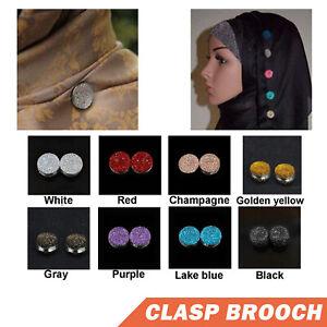 1x Magnetic Round Hijab Pin Headscarf Abaya Clasp Brooch Scarf Shawl Crystal