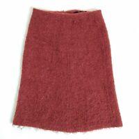 Zara Women Red Burgundy Tweed Mohair Wool Blend Straight Fluffy Skirt Size 12 M