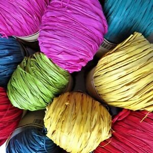 Raffia for craft weaving bags hats garden. 18 colours! Soft & Natural