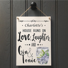 Handmade Gin and Tonic Plaque Sign Friend Housewarming Gift Personalised