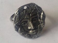 the Green man code dr84 Emblem Made From English Pewter on a Scarf Ring