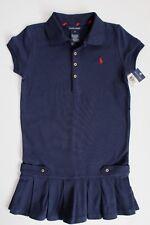 Ralph Lauren Girls Tennis Dress Pleated Short Sleeve Navy Size 6X NWT
