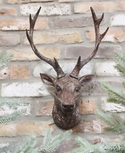Wall Mounted Stag Head Antlers Deer Wall Plaque Sculpture Figure 47cm Decoration