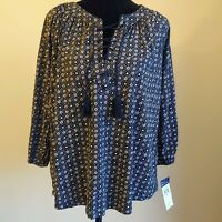 NWT Chaps Women's Boho Peasant Top Shirt Blouse Size Small