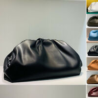 Small Large Real Leather Ruched Clutch Pouch Shoulder Bag Purse Party Evening