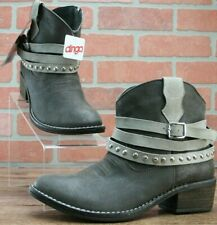 *Dingo Womens Logan Western Cowboy Ankle Boots Grey With Straps DI447 Size 6 M