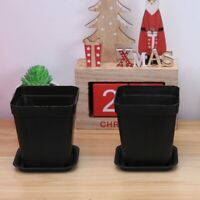 6pcs Thicken Flower Pots Small Square Planters Pot Trays for Succulent Plants