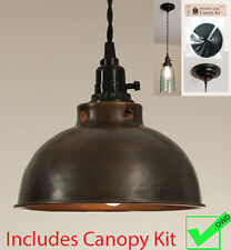 Vintage Rustic DOME PENDANT LIGHT -aged copper finish w/ Canopy Kit for hardwire