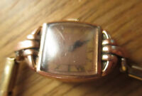 Elgin DeLuxe 10k Gold Fill Wristwatch Ladies Blue Hands for PARTS/REPAIR