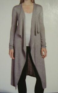 New Chelsea & Theodore Women's Draped Open Front Long Duster Mist Grey Size M