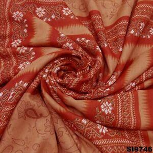 Indian Vintage Sari Brown Paisley Printed Silk Blend Craft Women's Saree SI9746