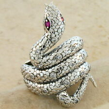 GENUINE RUBY ANTIQUE VICTORIAN DESIGN 925 STERLING SILVER SNAKE RING SIZE 9,#221
