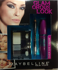 Maybelline Glamorous Look The Falsies Very Black Mascara  + Eyeliner + Eyeshadow