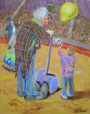 "LEON GOODMAN originale olio su tela ""The Friendly CLOWN"" Circo Fair PITTURA"