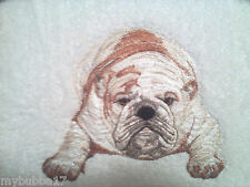 BULLDOG SET OF 2 HAND bathroom TOWELS EMBROIDERED high quality towels by laura