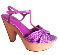 Coach Women's Platform Signature Logo Sandals, 5 Inch Heels with Box $195 EUC