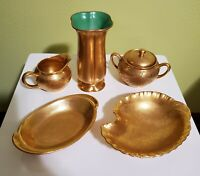 PICKARD China  gold creamer, sugar bowl and oval bowl( sold by individual piece)