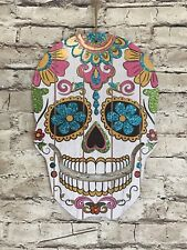 Dia De Los Muertos Sugar Skull Halloween Sign Door Hanging Wall Party Decor