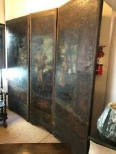 18th century rare antique hand painted 3 panel leather screen