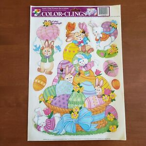 Vintage Easter Color-Clings Window Decorations Bunny Rabbit Eggs New Old Stock