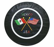 "15"" SPARE TIRE COVER MEXICO/USA FLAG BLACK HEAVY DUTY VINYL TIRE COVER"