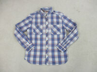 Levis Pearl Snap Button Up Shirt Adult Large Blue Red Long Sleeve Western Men B2