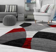 Teppich Wohnzimmer Rot Grau Schwarz Modern Kreis Gestreift Meliert Kurzflor NEU