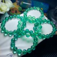 Natural Green Fluorite Crystal Clear Round Beads Women Men Bracelet 12mm AAAA