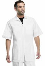 Med-Man Men's Short Sleeve Patch Pockets Vented Zip Front Scrub Jacket. 1373