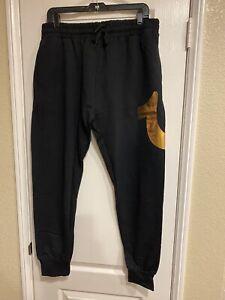 True Religion Sweatpants Horseshoe Gold Logo Joggers  Black Mens Size Small