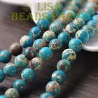 30pcs 8mm Round Natural Stone Loose Gemstone Beads Lake Blue Imperial Jasper