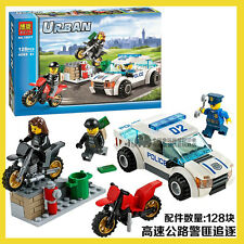 City Series The highway police chase Police car Building toys Fit lego 128PCS