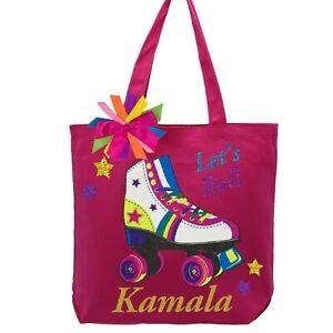Girls Kids Youth Personalized Tote Bag Star Roller Skate Handbag Dance Cheer Gym