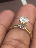 1,36 Cts Runde Brilliant Cut Natürliche Diamanten Solitär Krone Ring In 14K Gold