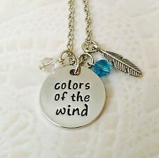 Disney inspired Pocahontas Colors Of The Wind Stamped Necklace