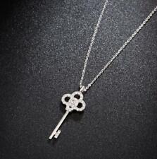 Pave Cubic Zirconia Silver SP Big Flower Clover Key Pendant Necklace