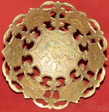 Vintage European Art Deco Solid Brass Floral Footed Bowl